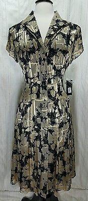 NWT Jones New York Collection Size 6 Silk Rayon Blend beige gold black dress