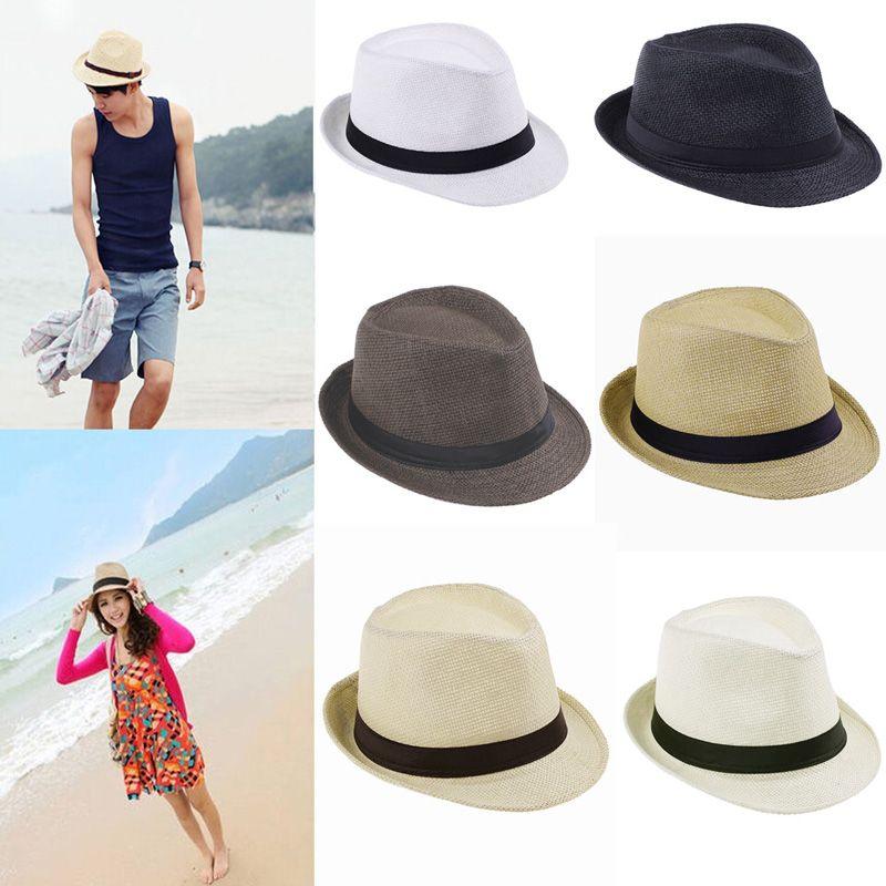 Cheap Sombreros de moda para mujer Fedora del sombrero flexible del  gángster Cap Beach Summer Sun paja sombrero panamá con Ribbow banda Sunhat 167bf747716