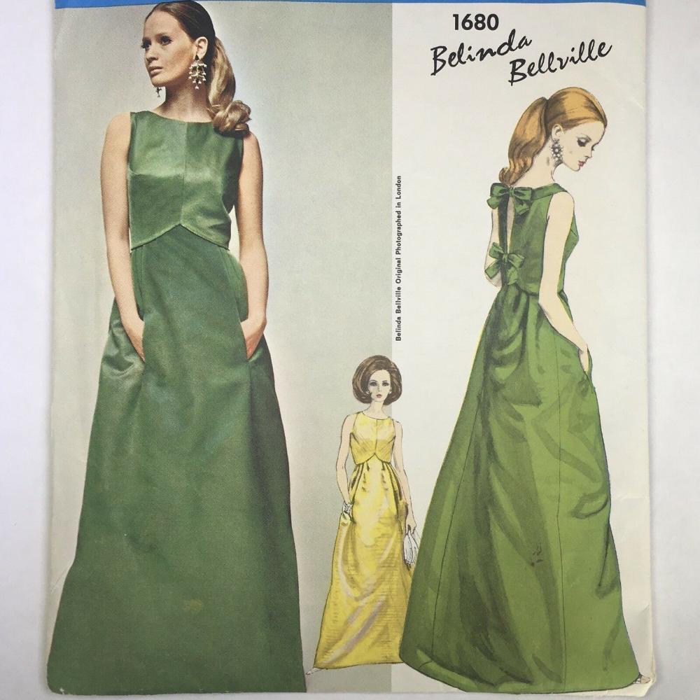 1960s Vogue Couturier Design 1680 Vintage Pattern Bellville Evening Dress Sz 10 Vintage Evening Gowns Evening Dress Patterns Dress Patterns