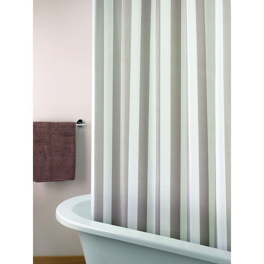 Wilko shower curtain grey at wilko com - Wilko Stripe Shower Curtain
