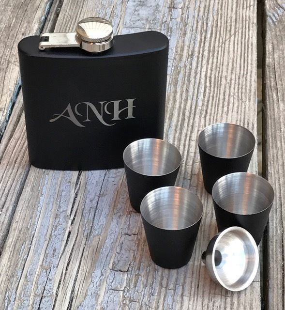 3 Personalized Flask Gift Set Groomsman Best Man Engraved Wedding