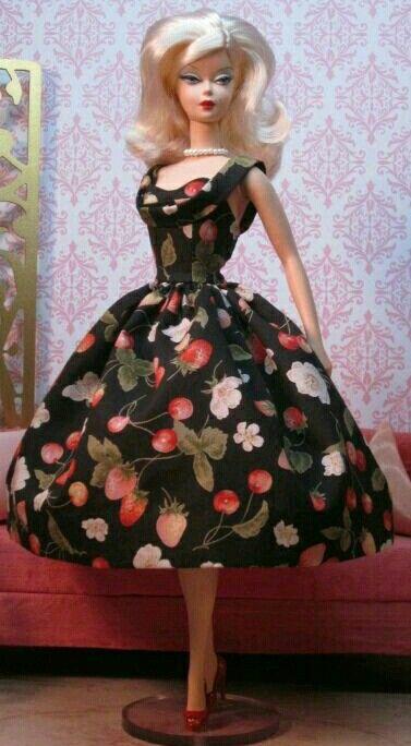Silkstone BArbie in Black flower print dress