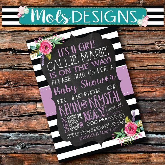 any color baby shower watercolor floral pink purple chalkboard, Baby shower invitations
