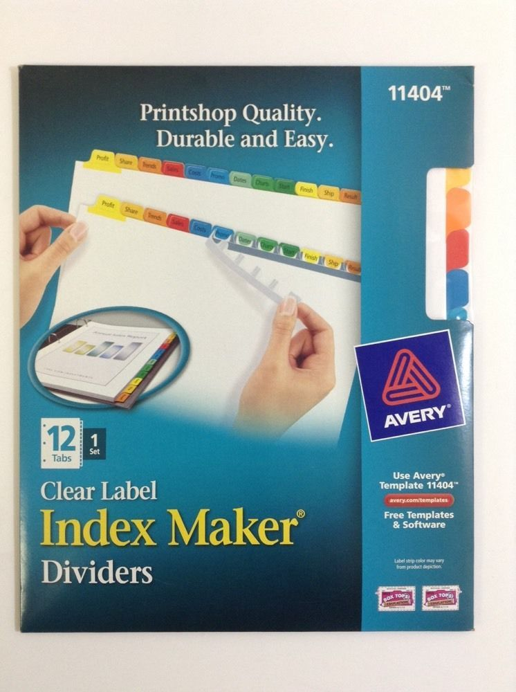 Avery Label Dividers Multi Color Index Dividers 12 Laminated Tabs 3