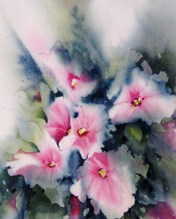 Art Print Giclee Of Watercolor Painting Abstract Flower Floral