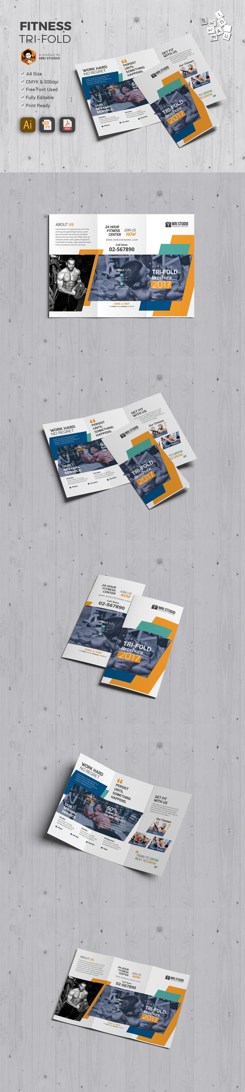 size of tri fold brochure