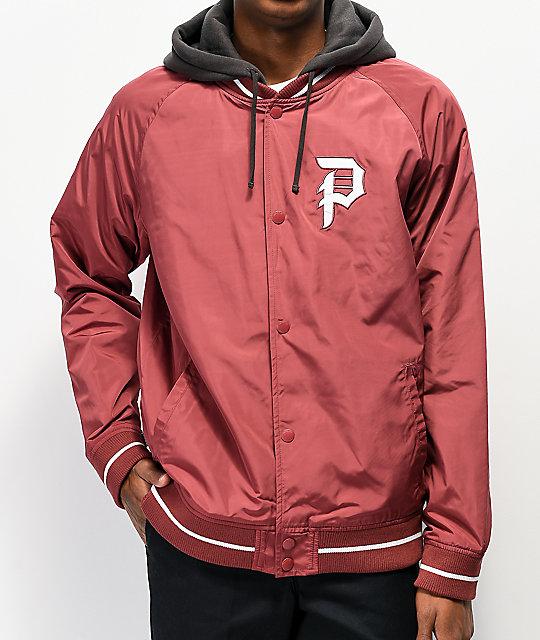 Primitive Maroon Two-Fer Varsity Jacket