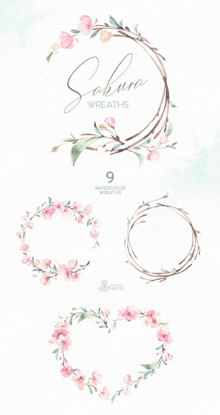 Sakura Couronnes Fleurs Aquarelle Clipart Fleuron De Guignier De La Delicatesse De Solitaire De Clipart Fleurs Aquarelle Florale Couronnes De Porte