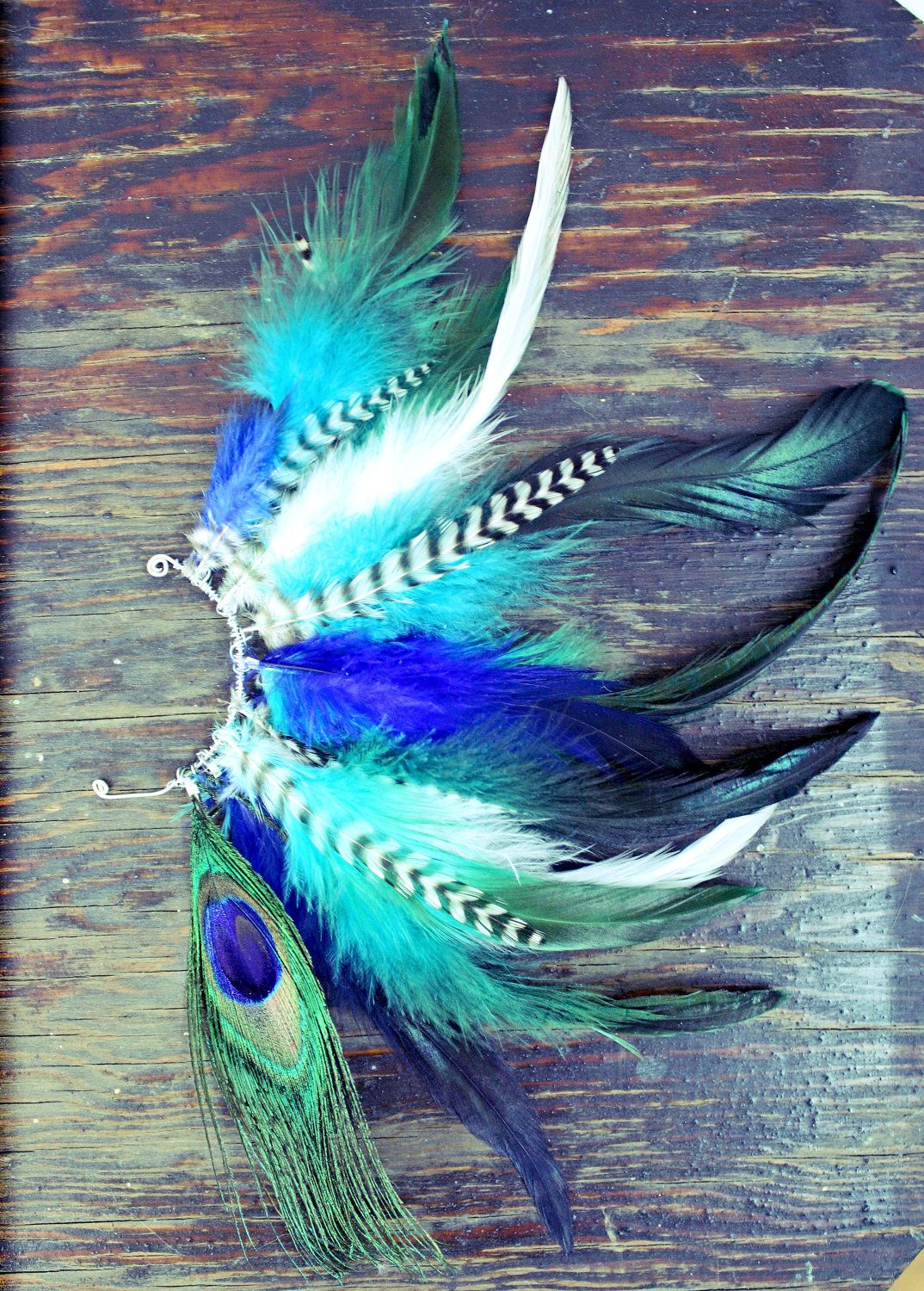 Handmade feather ear cuff peacock feathers grizzly feathers blue