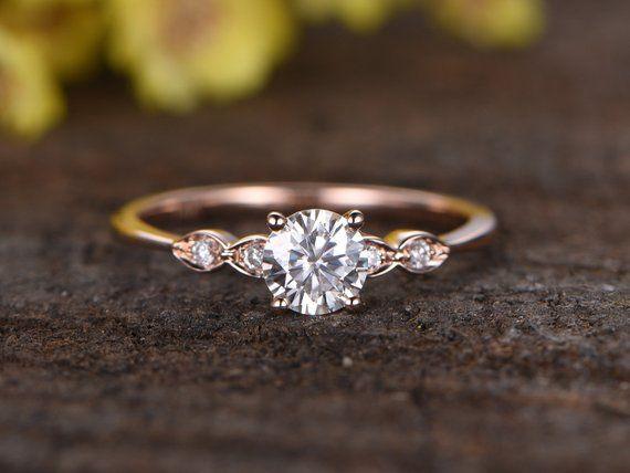 Charles & Colvard Moissanite Verlobungsring, Braut Ring, 14 k Rose Gold Diamant Ehering, 5mm Runde Edelstein Solitär Ring