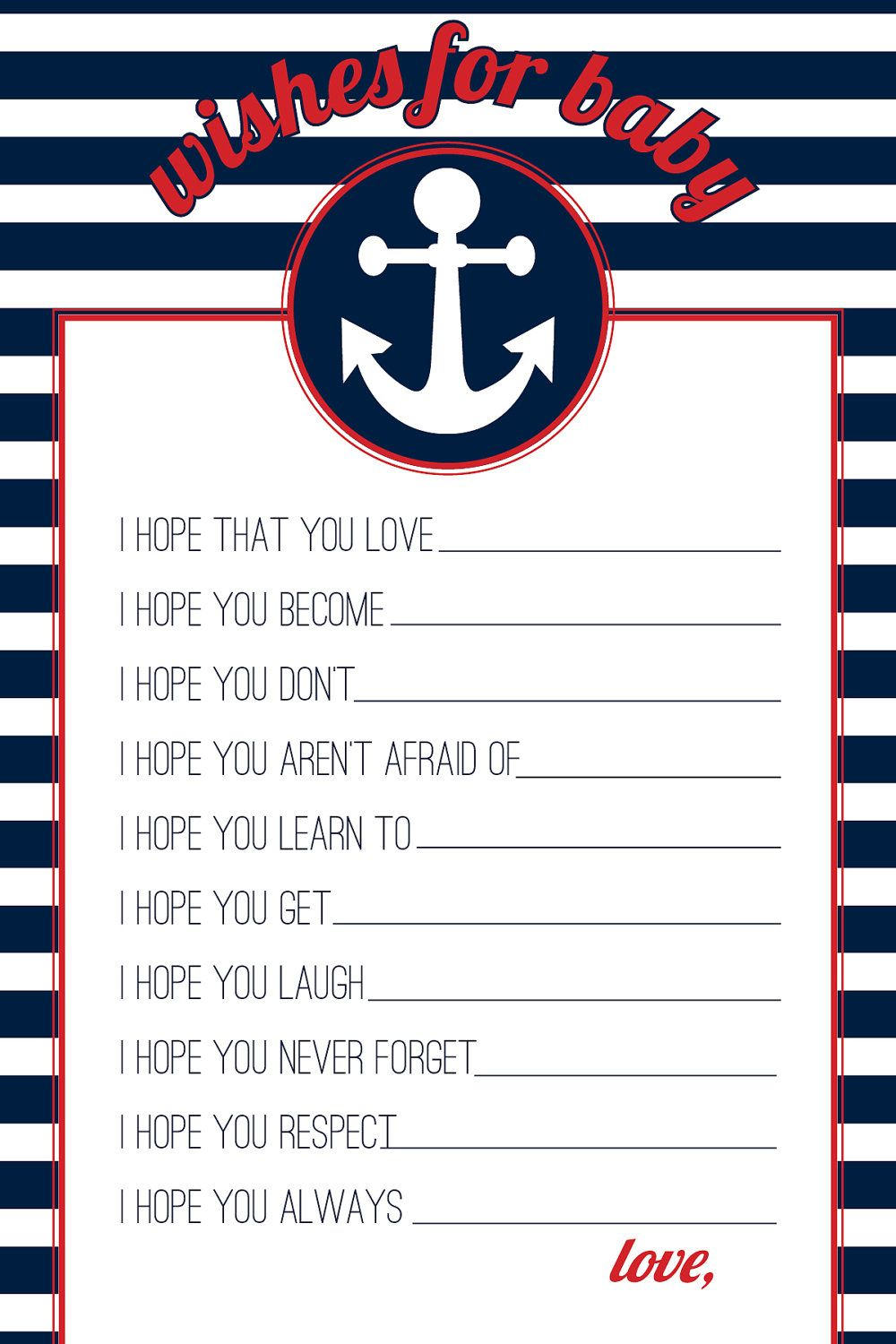 INSTANT DOWNLOAD   Red U0026 Navy Nautical Wishes For Baby   Printable Baby  Shower Game   Design #20