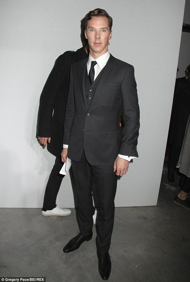 7e1d49427 Dapper: Benedict Cumberbatch wore a black three piece suit for the Hugo  Boss Woman show at New York Fashion Week