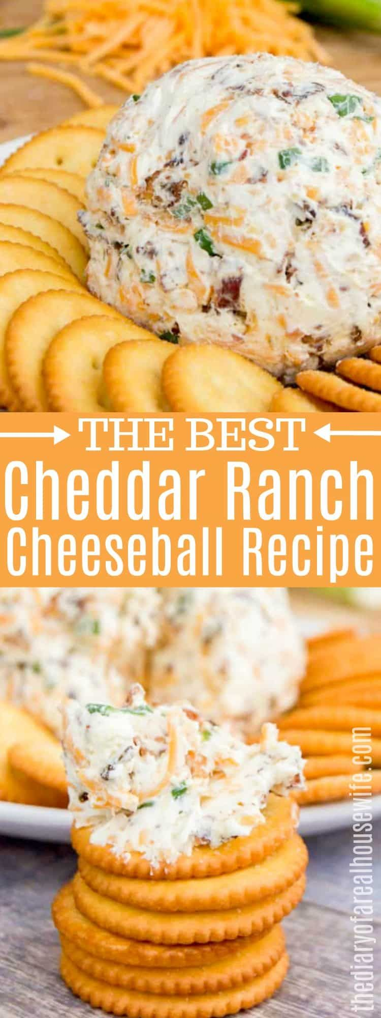 THE BEST Cheddar Ranch Cheeseball! The perfect appetizer. #cheeseball #fingerfoodpartyappetizers