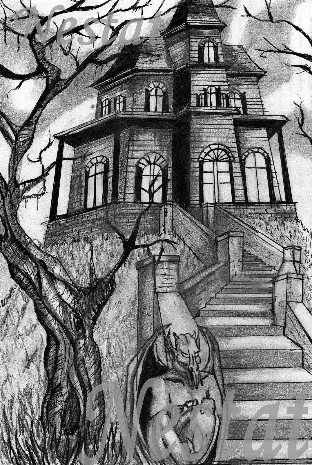 Dessin la main peinture manoir maison hant chateau everything jeff the killer art - Dessin manga image ...