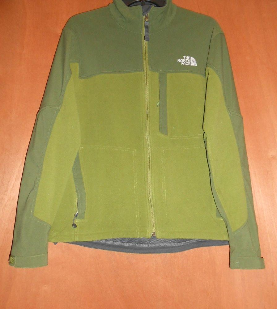 The north face menus jacket sz m fleece olive khaki lining gray