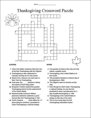 Thanksgiving Crossword Puzzle for Kids Fun and Free Activity - blank certificate of origin