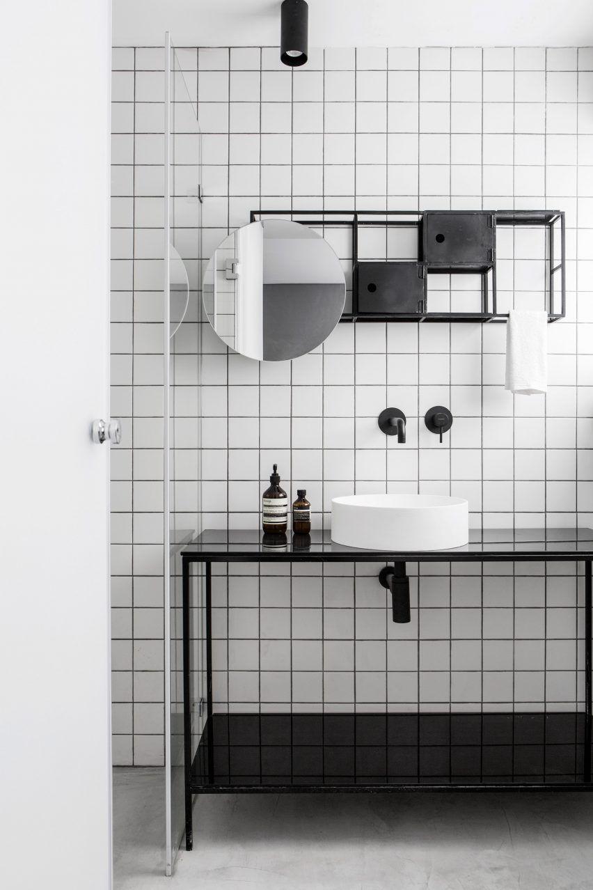 minimalist bathroom in black and white - grid bathroom created with ...