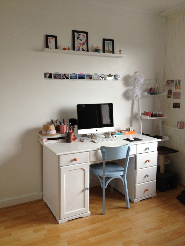 idee-deco-bureau-vintage-etagere--imac | Mac Workspaces For ...