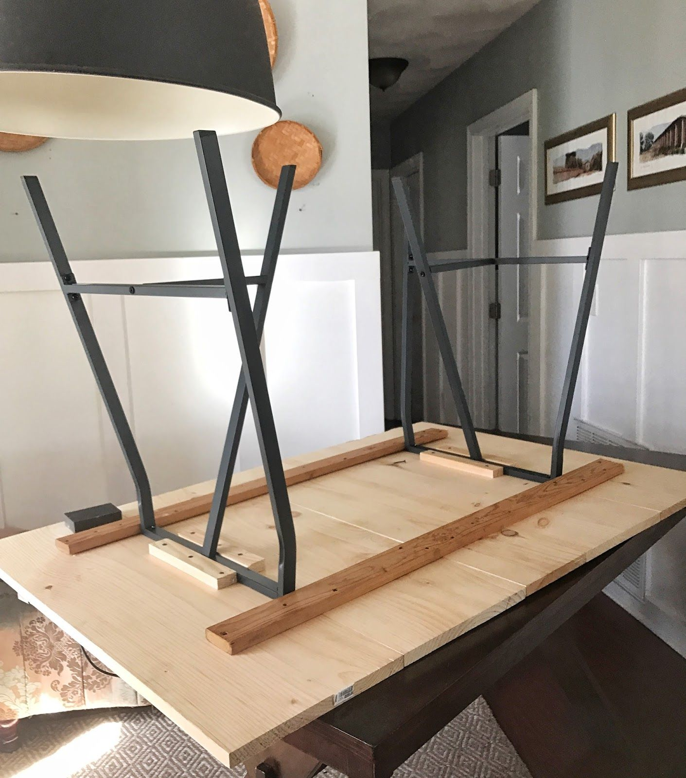 Easy Diy Trestle Dining Table With Horizontal Pinewood Boards And Ikea Lerberg Legs