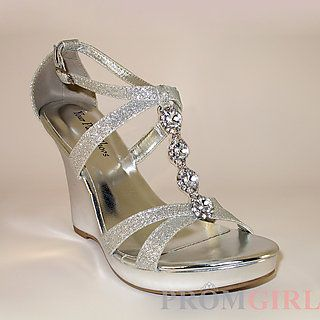 57d1d1eaf8 Zoey Silver Wedge Heel at PromGirl.com | Prom ❤ ❤ | Silver ...