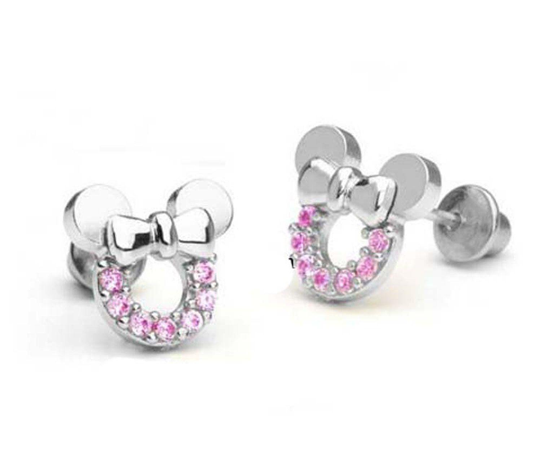 findout argent sterling zircon creux boucles d'oreilles de Mickey Mouse .pour femmes filles. (F1696): Amazon.fr: Bijoux