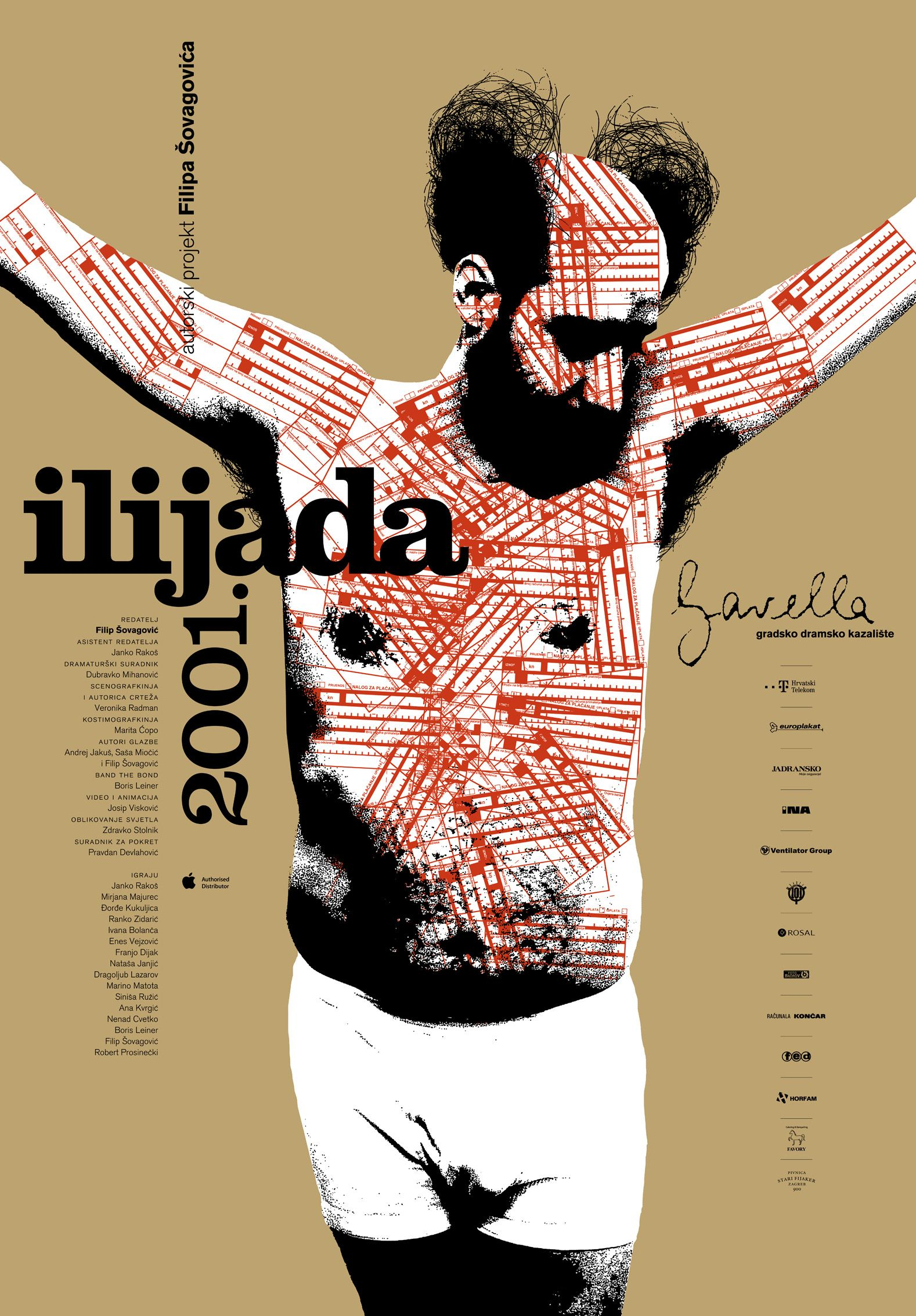 Iliad 2001 by Filip Šovagović. Theatre poster design by Vanja Cuculić/Studio Cuculić for Gavella Theatre.