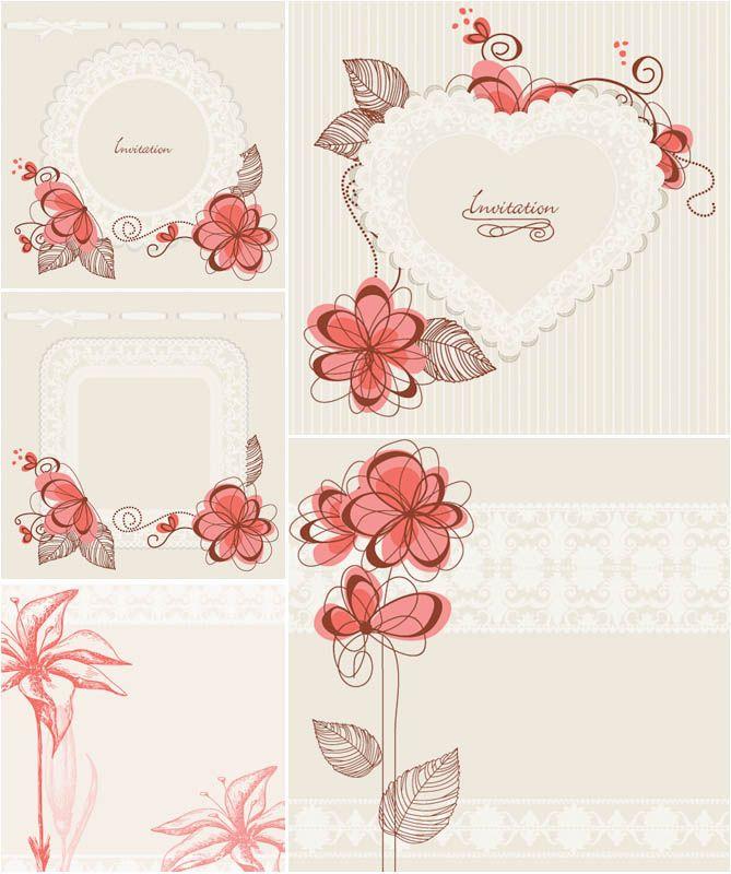 Floral invitation card templates vector   Photoshop Design ...