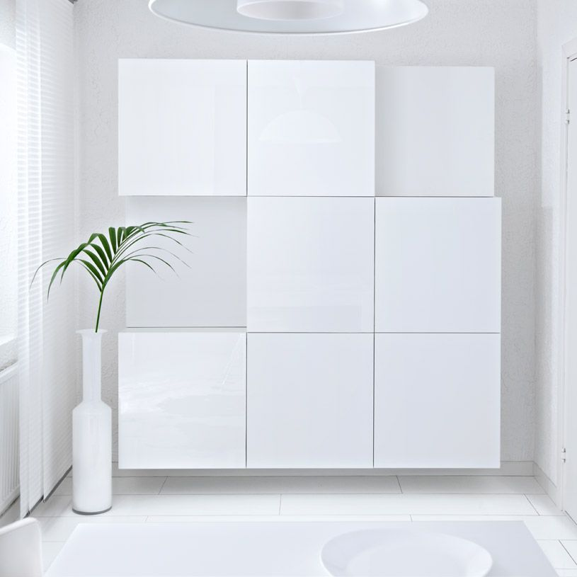 BESTÅ white shelf units with white high-gloss doors | Ikea ...