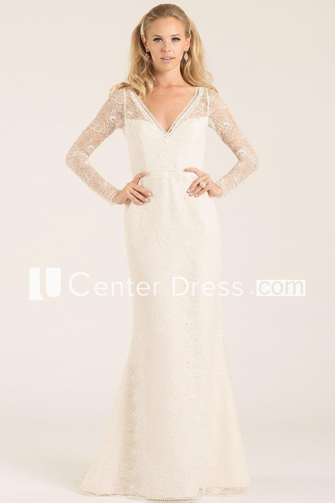 Sheath longsleeve vneck lace wedding dress with keyhole wedding