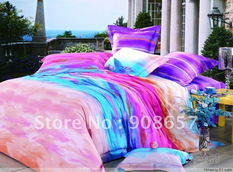 Quality Satin Fabric Purple Blue Magenta Modern Pattern Printed Duvet Quilt Covers Queen Bedding Sets 4pcs With Bedding Sets Luxury Queen Bed Exclusive Bedroom