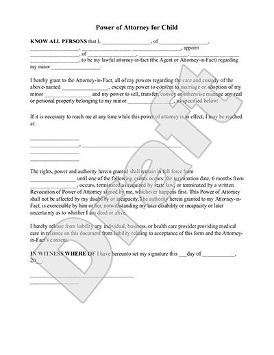 Sample Power Of Attorney For Child Form Template  Cake