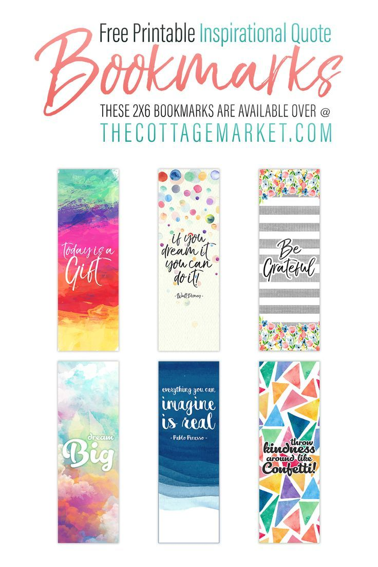 Free printable inspirational quote bookmarks free