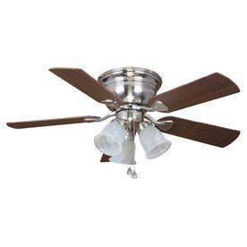 Harbor Breeze Centreville 42 In Brushed Nickel Indoor Flush Mount Ceiling Fan With Light Kit