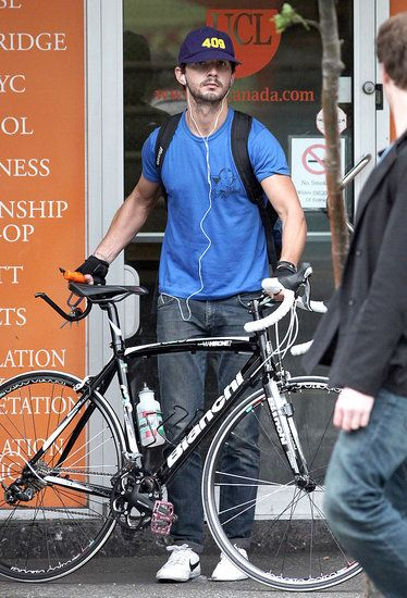 Shia LaBeouf in Vancouver with his Bicycle
