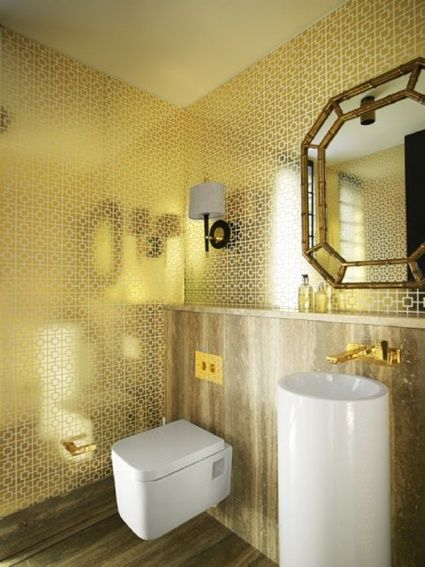 Ventana Wall Sconce by Jonathan Adler in a glitzy gold powder room ...