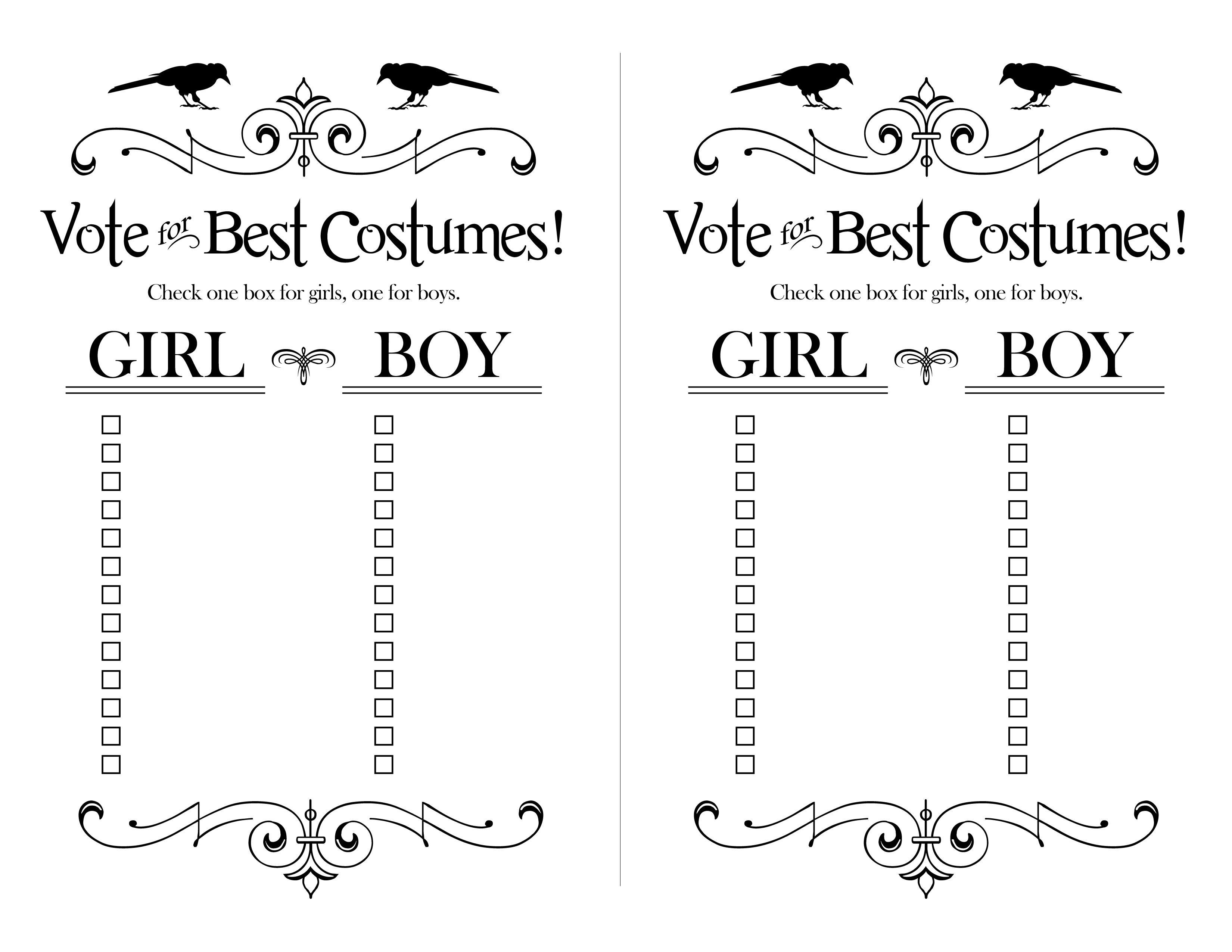 Classroom Best Costume Ballots For Halloween