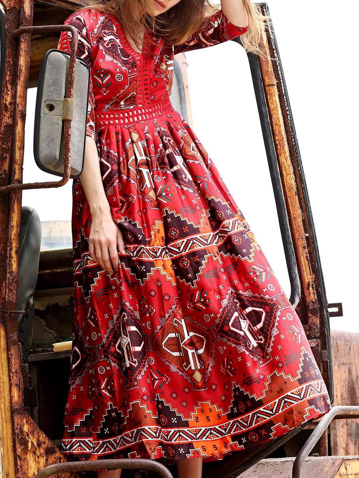 Ethnic style printed plunging neck sleeve dress sleeved dress