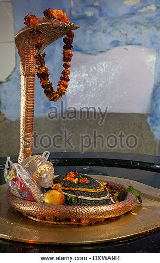 India, Dehradun. Sheshnag, the Divine Five-headed Serpent in Hindu Mythology. Tapkeshwar Hindu Temple. Offerings from Worshipers - Stock Image