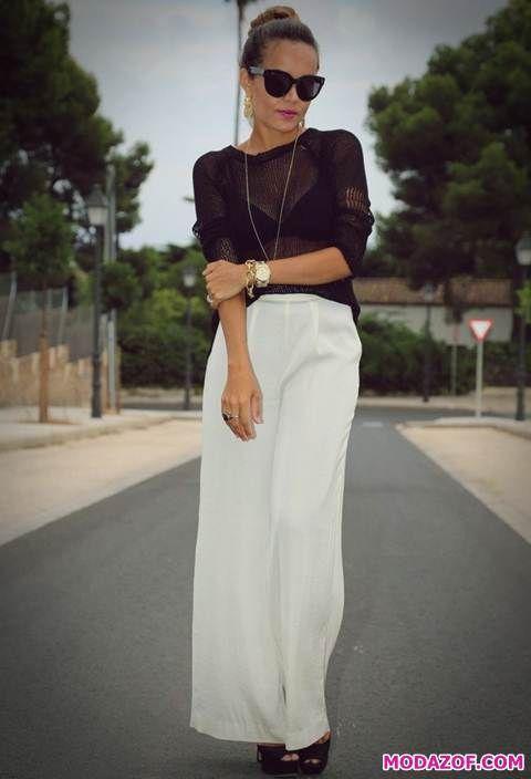 Beyaz Pantolon Kombinleri Modazof