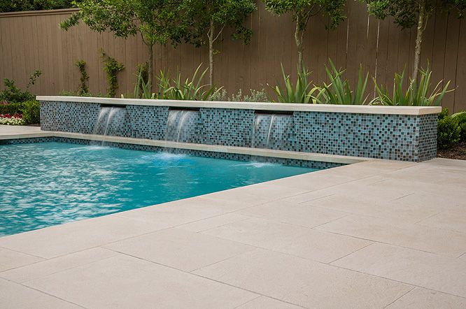 Mirabella Light Limestone Paving Pool Coping Antiqued Finish