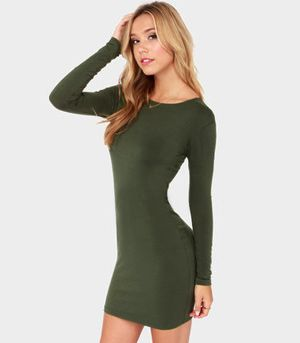 2e30ec4b37e5 Olive Green Bodycon Dress   fashion luv   Olive green dresses, Green ...