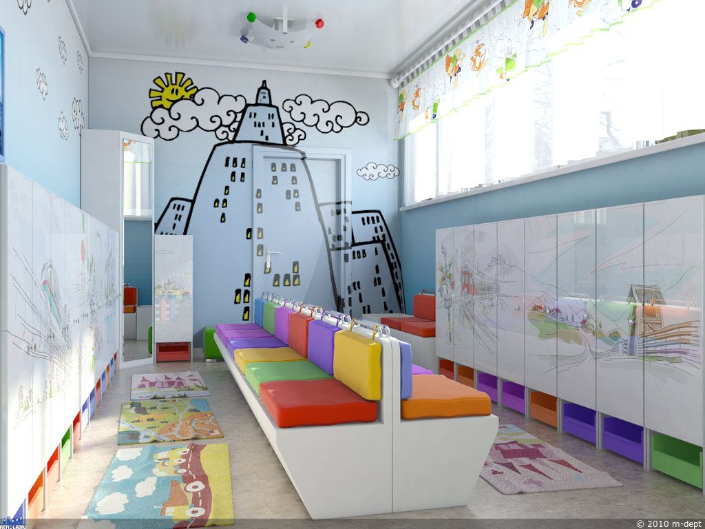 Beautiful design dressing rooms in kindergarten 75