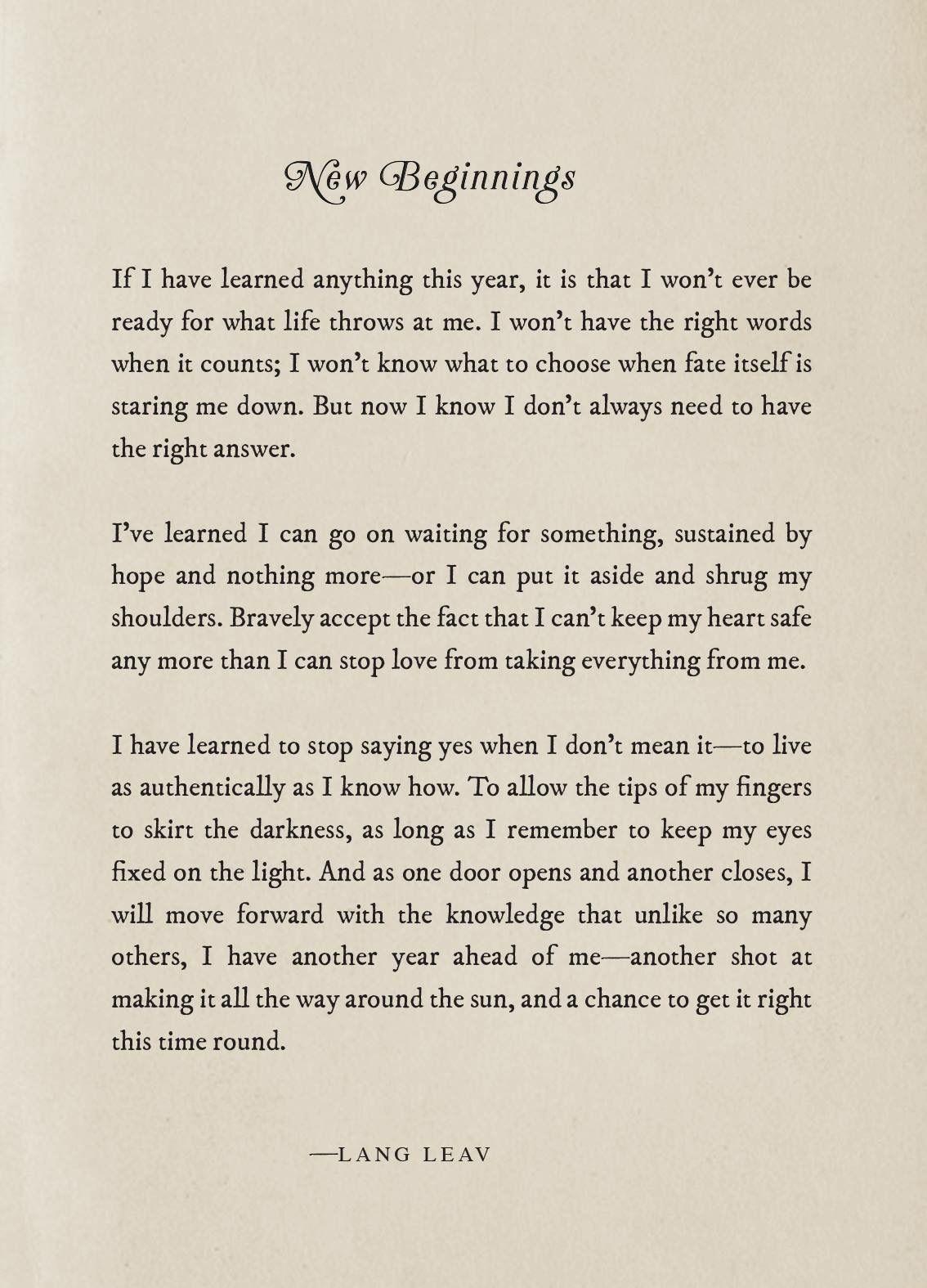 New Beginnings-Lang Leav | Sayings | Pinterest | Lang Leav, Poem and ...