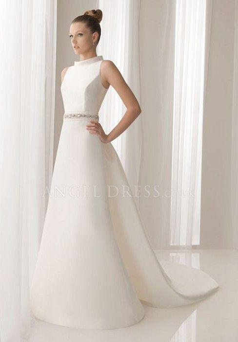 Delightful Spring A Line Satin High Neck Chapel Train Bridal Gowns Sleeveless Wedding Dresses