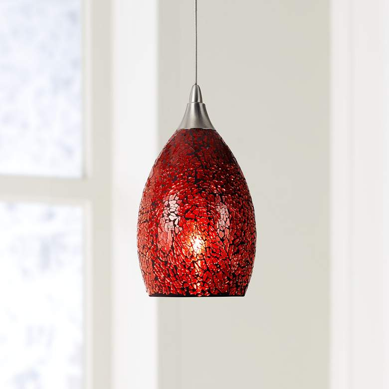 Red Glass 4 1 2 W Brushed Steel Low Voltage Mini Pendant 69y40