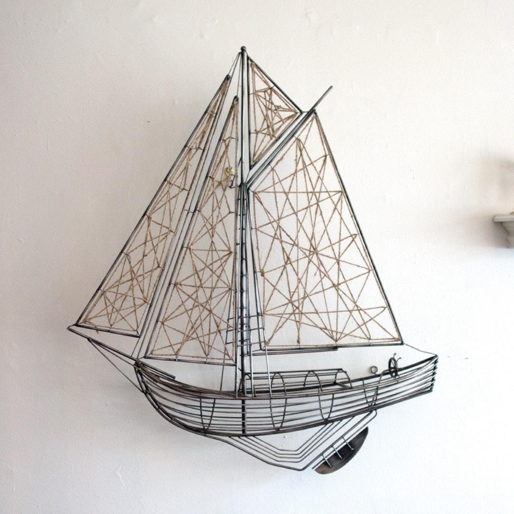 Kalalou Woven Metal And Jute Sailboat Sculpture With Images