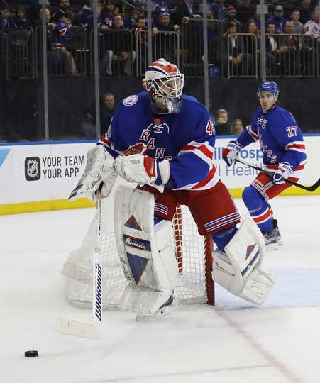 NEW YORK, NY - JANUARY 17: Magnus Hellberg #45 of the New York Rangers tends net against the Dallas Stars at Madison Square Garden on January 17, 2017 in New York City. The Stars defeated the Rangers 7-6. (Photo by Bruce Bennett/Getty Images)