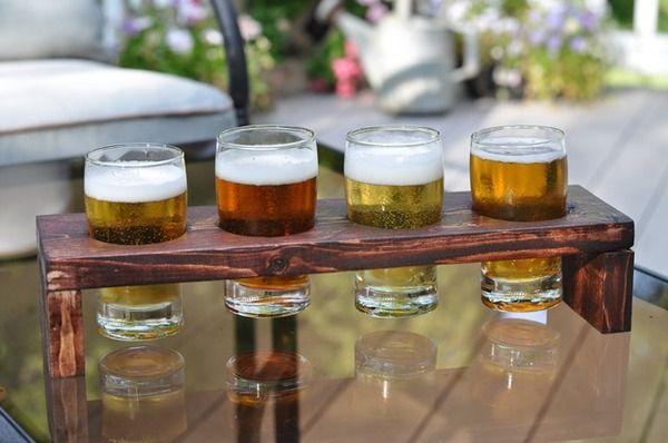 Make This 1 Board Diy Beer Flight Holder Diy Beer Beer Flight Holder Beer Tasting