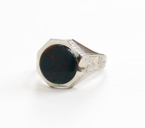 Antique Art Deco 10k White Gold Bloodstone Ring - Vintage