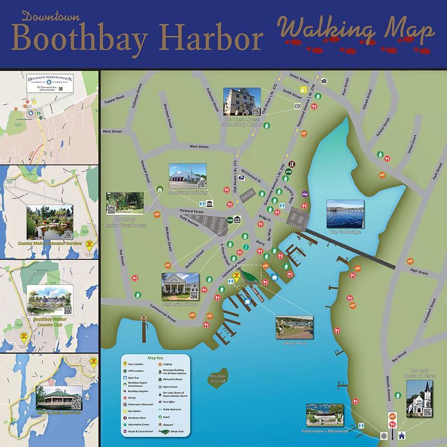 Boothbay Harbor Me Walking Map Walking Map Map Boothbay Harbor